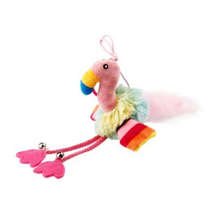 GIGWI Игрушка для кошек, Фламинго с колокольчиком и кошачьей мятой, разноцветная