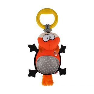 GIGWI Игрушка для собак, Лиса с кольцами, плюшевая, пищащая, оранжевая