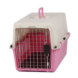 KANING Бокс для перевозки животных 61x40x39 см, розовый