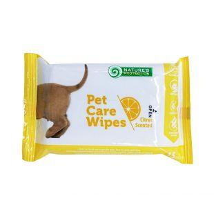 NATURE'S PROTECTION Антибактериальные салфетки для ухода за домашними животными с ароматом алоэ, 15 шт.