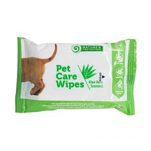 NATURE'S PROTECTION Антибактериальные салфетки для ухода за домашними животными с ароматом лаванды, 15 шт.