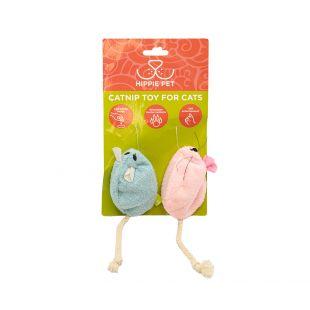 HIPPIE PET Игрушка для кошек с кошачьей мятой, синяя и розовая, 2 шт