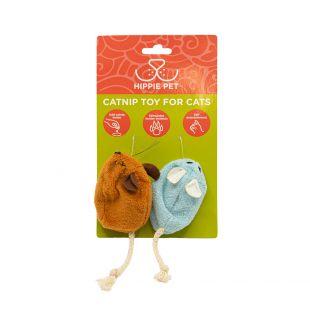 HIPPIE PET Игрушка для кошек с кошачьей мятой, синяя и оранжевая, 2 шт