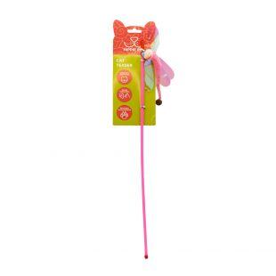 HIPPIE PET Игрушка для кошек, удочка, Стрекоза, розовая, 45 см