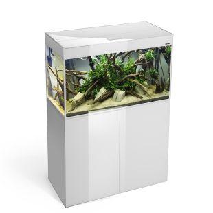AQUAEL Ristkülikukujuline akvaarium GLOOSY SET CUBE valge, 80x35x54 cm, 125 l