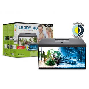 AQUAEL Ristkülikukujuline akvaarium LEDDY SET PLUS D&N RECT must, 41x25x25 cm