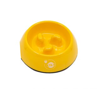 KIKA Aeglase söömise kauss koerale melamiin, kollane, suurus S