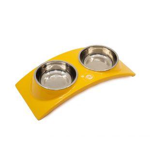 KIKA RAINBOW Миска для домашних животных двойная, желтая, размер S