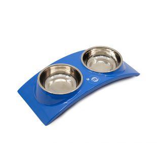 KIKA RAINBOW Миска для домашних животных двойная, синяя, размер S