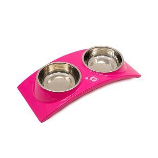 KIKA RAINBOW Миска для домашних животных двойная, розовая, размер S