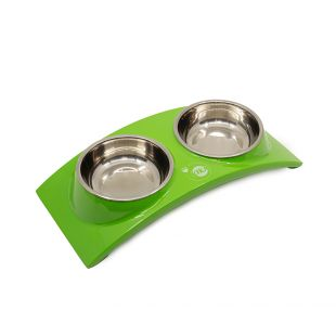 KIKA RAINBOW Миска для домашних животных двойная, зеленая, размер S