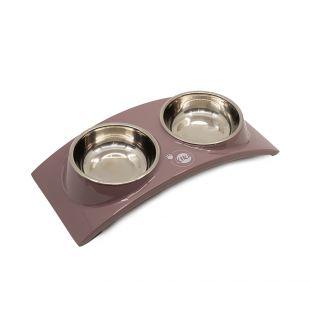 KIKA RAINBOW Миска для домашних животных двойная, кремовая, размер M