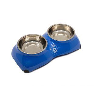 KIKA 4-PAW Миска для домашних животных двойная, синяя, размер S