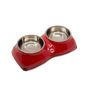 KIKA 4-PAW Миска для домашних животных двойная, красная, размер S