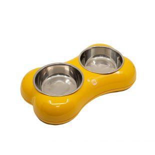 KIKA BONE SHAPE Lemmiklooma kauss topelt, kollane, suurus M