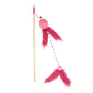 HIPPIE PET Игрушка для кошек, удочка с пером, розовая, 40 см