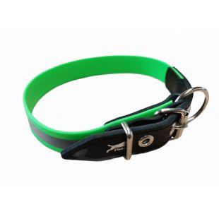 HIPPIE PET Светоотражающий кожаный ошейник 2.5х55 см, зеленый