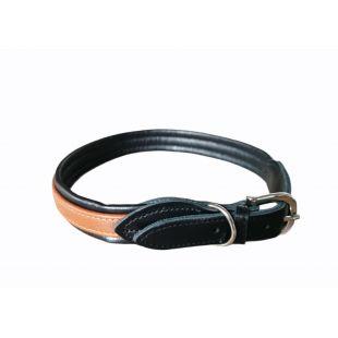 HIPPIE PET Ошейник из натуральной кожи 2.5x55 см, черный / коричневый
