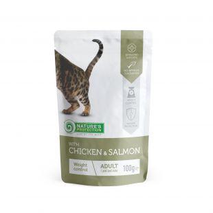 NATURE'S PROTECTION Weight Control Adult cat With chicken and salmon, pakikonservid kanaliha ja lõhega täiskasvanud kassidele 100 g x 22