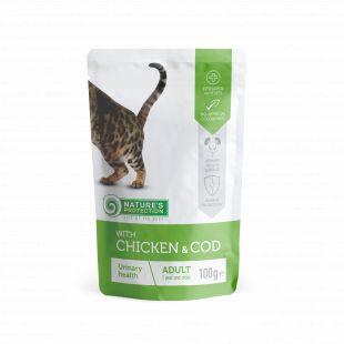 NATURE'S PROTECTION Urinary health Adult cat With chicken and cod, консервы для взрослых кошек с курицей и треской, в пакетике 100 ? x 22