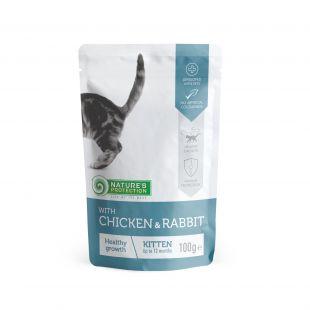 NATURE'S PROTECTION Healthy Growth Kitten With chicken and rabbit, консервы для котят с курицей и мясом кролика, в пакетике 100 ? x 22