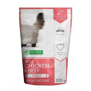 NATURE'S PROTECTION Skin & coat care Adult cat With chicken and beef, консервы для взрослых кошек с курицей и говядиной, в пакетике 100 ? x 22