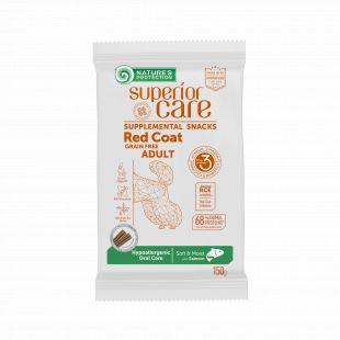 NATURE'S PROTECTION SUPERIOR CARE Red Coat Hypoallergenic Oral Care Grain free Salmon täiendav toit-maiused lõhega täiskasvanud koertele punase karvkattega 150 g