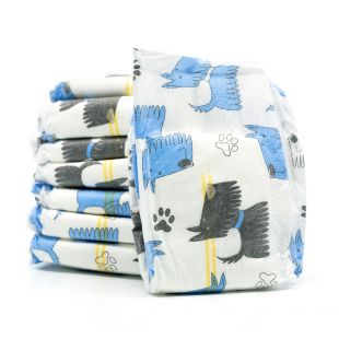 MISOKO&CO ühekordsed mähkmed emastele koertele kutsikamotiiviga, niiskuse indikaator, virsiku lõhn, S suurus, 12 tk